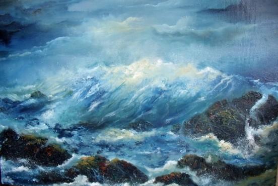 Award Winning Oil Painting Atlantic Crash, Atlantic Ocean, Waves Crashing against Rocks, stormy seas, west coast of Ireland, stormy skies, © www.donnamcgee.ie
