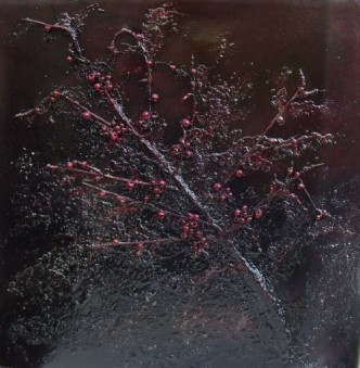 Berried Treasure, purple abstract painting, mixed media painting, branch, beads,