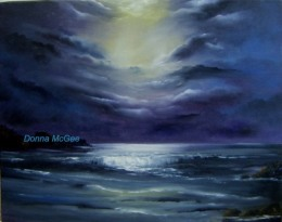 Moonlit sky, dramatic cloudy sky, Moonlight on water, heavenly window