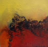 Coralline_12x12_Oil_Painting_Donna_McGee, red, yellow, black abstract oil painting