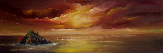 """art, Skellig Michael 16 x 6"""" Oil on canvas, donna mcgee"""