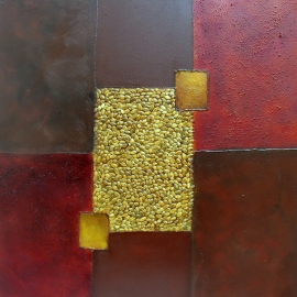Nucleus Squared, abstract painting, mixed media, golds and browns, textured, square shapes