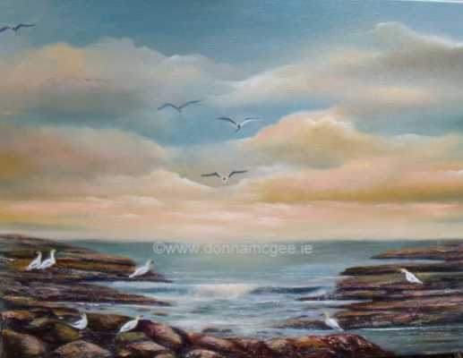 The Gannet Watch 24 x 16 Oil on Canvas
