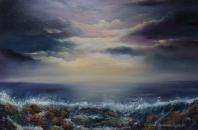 "Waters Edge, Oil on canvas 20 x 30"" Atlantic Ocean waves crashing against rocks"