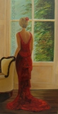 Lady in Red 30 x 60 cms Oil on canvas www.donnamcgee.ie