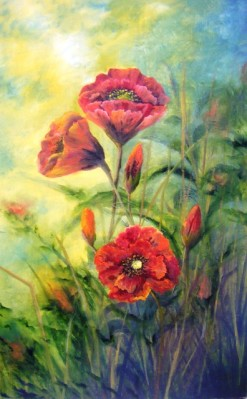 Award winning oil painting - Donna McGee - Large poppies, orange flowers, sunlight and flowers oil painting. 4th Place Overall Category LST