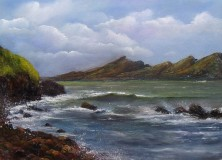 "Duineen, Dingle - Oil on Board 16 x 12"" © www.donnamcgee.ie, sea crashing against the rocks, dingle peninsula"