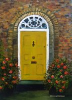 "Georgian Building Doorway,  Oil Painting 12x10"" © Donna McGee"