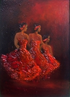 dancing girls, lady in red, stage performance, the ballet