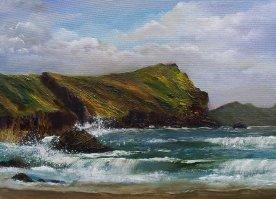 Sea beating against the rocks on Dingle Peninsula, Atlantic rugged coastline