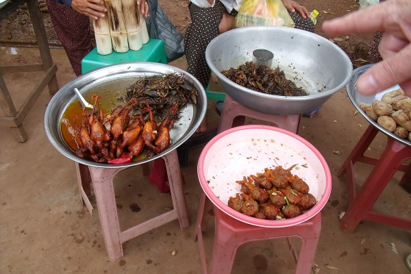 Crickets for sale in a Cambodian food market
