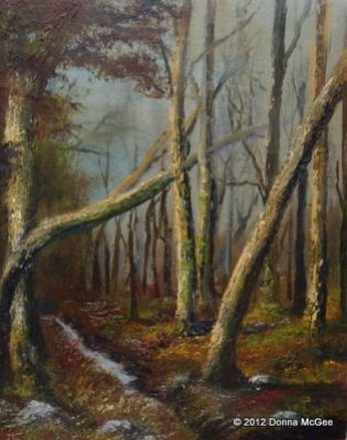 Irish Art - Massey's Wood, Dublin Mountain Trail, woodland winter scene