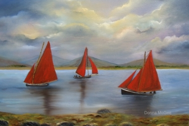 Galway Hookers, boating of west coast of ireland, red sails in the sunset
