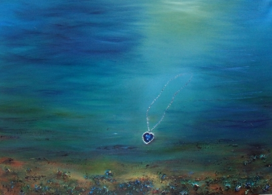 The Heart of the Ocean Necklace from The Titanic Oil  based Mixed Media Painting
