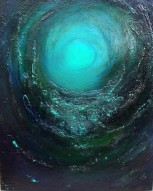 "Spiral Galaxy, Titanic Painting_Mixed Media 16x20""_donna_mcgee"
