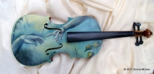 Instrument art, oil painting on a violin, oil painting of the creation of adam, musical youth foundation, soul picnic