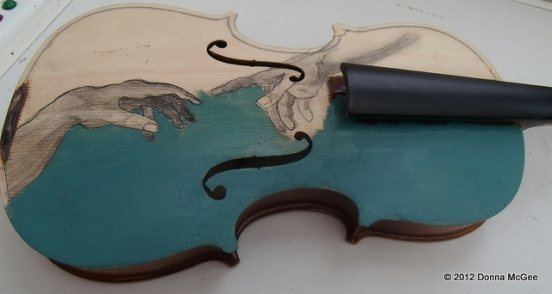 Violin Art , oil painting on a violin, the creation of adam