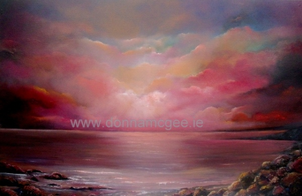 "Fuschia Sunset 20 x 30"" Oil on canvas © donna mcgee"