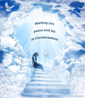 Irish Digital Art - Christmas Angel signifying peace sitting at the stairway to heaven