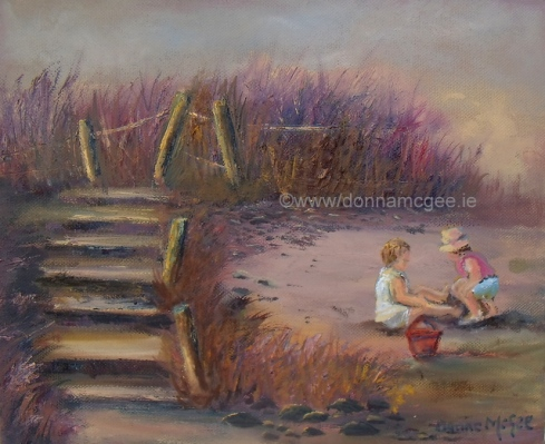 "Playtime on Rosslare Strand 10 x 12"" Oil on block canvas"