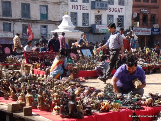 Selling their wares at Durbar Square, Nepal