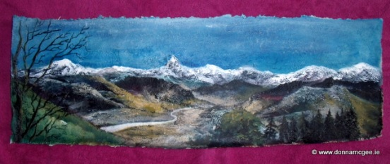 "Himalayan Range -Sarangkot 30 x 10"" Mixed Media on Nepalese Hand Made Paper"
