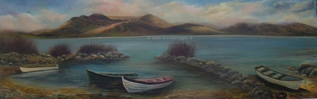 Lough Currane, Waterville, Kerry - Oil on block canvas 50 x 16""